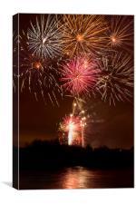 Nottingham Embankment Fireworks, Canvas Print