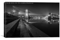 Embankment Night Rays, Canvas Print