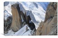 Climber at Aiguille du Midi, Mont Blanc, Canvas Print