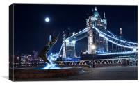 London Tower Bridge with dolphin statue, Canvas Print