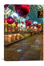Christmas Lights & Decorations at Covent Garden, Canvas Print
