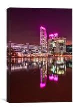 Pink lights at Canary Wharf, Canvas Print
