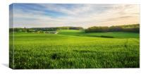 Green Farmland in Bean, Kent, Canvas Print