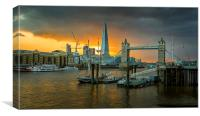 Sunset at Tower Bridge and the Shard., Canvas Print
