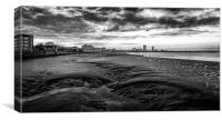 Dramatic Sunset on River Thames in Black and Whit, Canvas Print