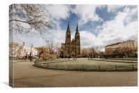 Peace Square, Church of Saint Ludmila in Prague, Canvas Print