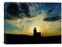 Sunset behind the lighthouse, Canvas Print