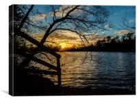 Sunset behind the lake, Canvas Print