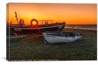 Sunset Off Cley Beach North Norfolk, Canvas Print