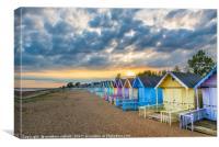 Beach Hut Colour Of Mersea Island, Canvas Print
