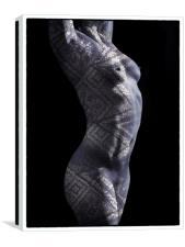 Patterned nude torso , Canvas Print