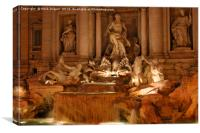 Trevi Fountain at Night, Canvas Print