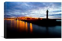 Whitby harbour by night, Canvas Print