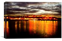 Whitby by night, Canvas Print