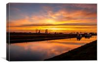 Sunset Thurne Dyke Norfolk Broads, Canvas Print