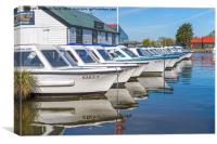 Day Boats Ready At Potter Heigham, Canvas Print