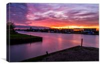 Sunset over Potter Heigham, River Thurne, Norfolk, Canvas Print
