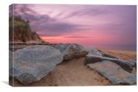 Sunset by the Rocks at Hemsby Beach, Canvas Print