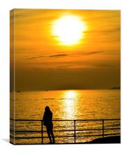 sunset over lee on solent, Canvas Print