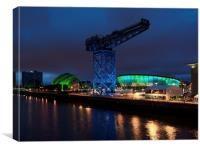 Glasgow Clydeside At Night., Canvas Print