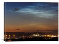 Noctilucent clouds over Longannet., Canvas Print