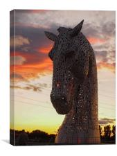 One of the magnificent Kelpie sculptures, near Fa, Canvas Print