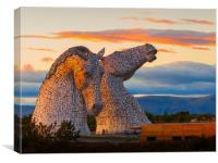 Sunset at the Kelpies., Canvas Print