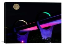 Part of the Falkirk Wheel at night., Canvas Print