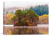 Loch Katrine autumnal scene., Canvas Print
