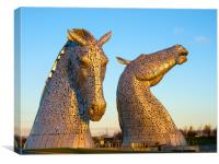 Sunrise at the Kelpies, Canvas Print