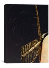 Windmill star trails, Canvas Print
