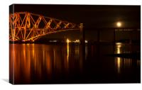 Moon at the Forth rail bridge, Canvas Print
