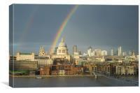Rainbow over St Paul's Cathedral, London, Canvas Print