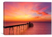 Clevedon Pier, UK, Sunset colours, Canvas Print