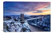 Clifton Bridge, Bristol, UK, Dusk, Winter, Canvas Print