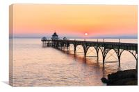 Clevedon pier, UK, Golden sunset, Canvas Print