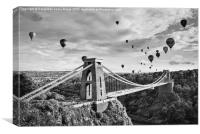 Bristol Balloon Fiesta (black and white), Canvas Print