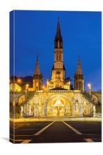 Rosary Basilica, Lourdes at dusk, Canvas Print