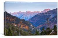 Pyrenees mountain evening glow, Canvas Print