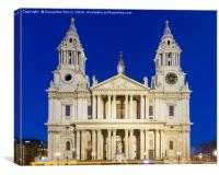 St. Paul's Cathedral, London during the blue hour, Canvas Print