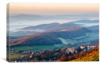 Misty Malvern Hills Panorama, Canvas Print