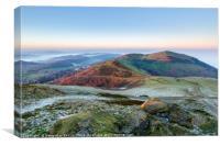 Misty Malvern Hills Panorama, Canvas Print