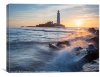 Sunrise at St. Mary's lighthouse, Canvas Print