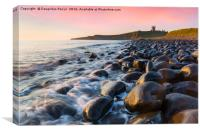 Dunstanburgh castle at dawn, Canvas Print
