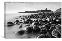 Dunstanburgh castle at dawn (black and white), Canvas Print