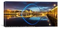 Millennium bridge at blue hour, Newcastle-upon-Tyn, Canvas Print