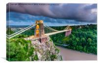 Stormy Clifton Bridge, Bristol, Canvas Print