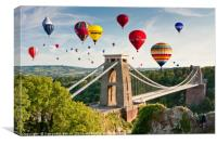 Bristol Balloon Fiesta display over Clifton Bridge, Canvas Print