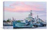 HMS Belfast on the river Thames at sunset, Canvas Print