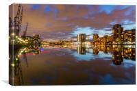 London Royal Victoria docks reflections at dusk, Canvas Print